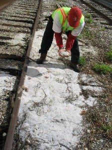 Preproduction plastic pellets, or nurdles, spilled during rail car loading. Photo courtesy of the California State Water Resources Control Board.