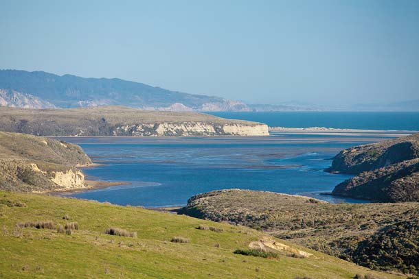 View from Bull Point Trail looking south across Drakes Estero toward Limantour Spit and Drakes Bay. Photo by Richard Blair.