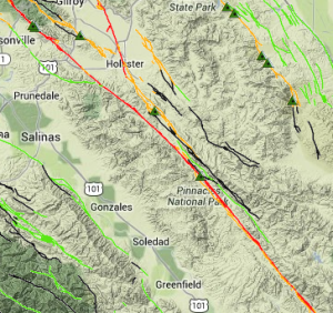 Major fault lines running through the Monterey Shale. Source: USGS.