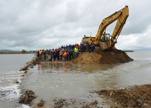A crowd watches Bay water flow through the breached levee at Hamilton Airfield on April 25. (Photo by Sally Rae Kimmel)