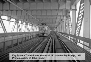 Key System transit line going westward on the Bay Bridge, 1955. Photo by John Harder