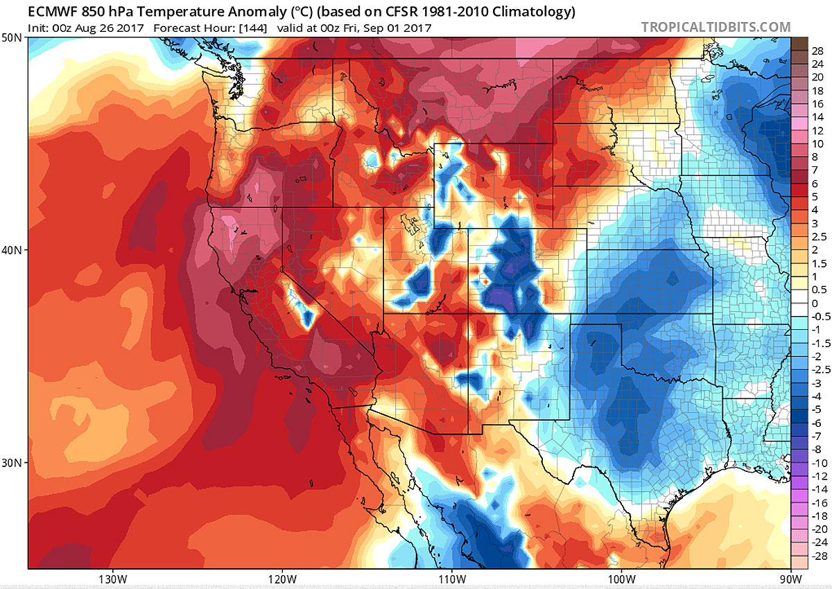 A forecast model from August 26 predicts hot temperatures across the Western United States on Friday, Sept. 1. (Map courtesy tropicaltidbits.com)