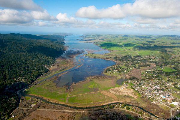 aerial of Lagunitas Creek and Giacomini wetlands